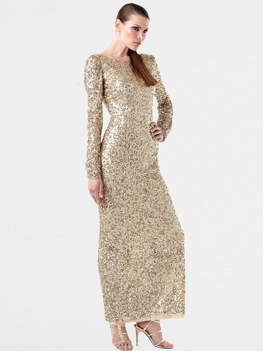 Sparkling long sleeved sequin evening dresses