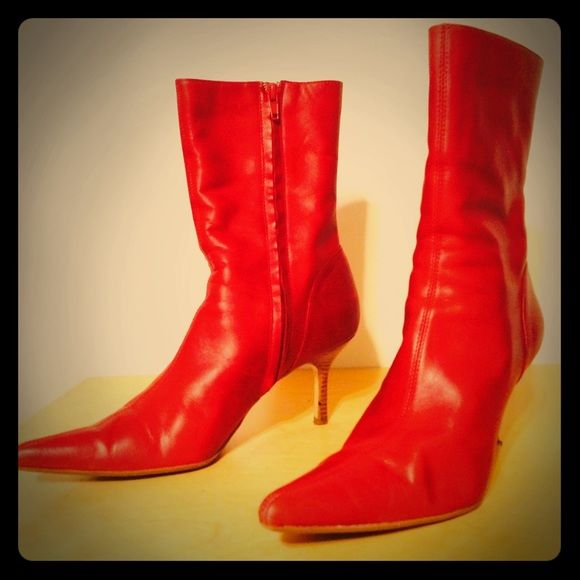 Red leather ankle boots Red ankle boots with 2 1/2 inch wood heel. Lovingly worn. In good condition. Soft. Steve Madden Shoes Ankle Boots & Booties