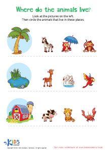 Where Animals Live Pdf Worksheet Printable Preschool Worksheets