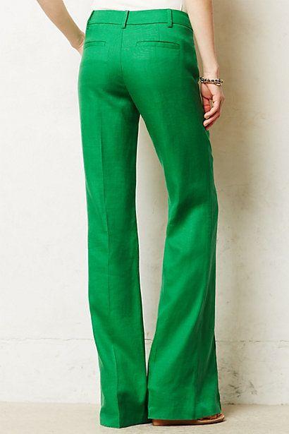 Brighton Linen Wide Legs Wear Fashion Pants Kelly