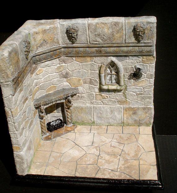 Dollhouse Miniature Roombox Sitting Room: Dollhouse Miniature Castle Room Scene 1 Scale OOAK Via