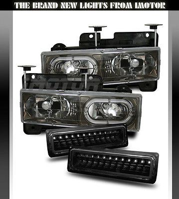 1988 1998 Chevy C K 1500 2500 3500 Gmc Sierra Halo Black Headlights Bumper Lamps Black Headlights Chevy Silverado Headlights