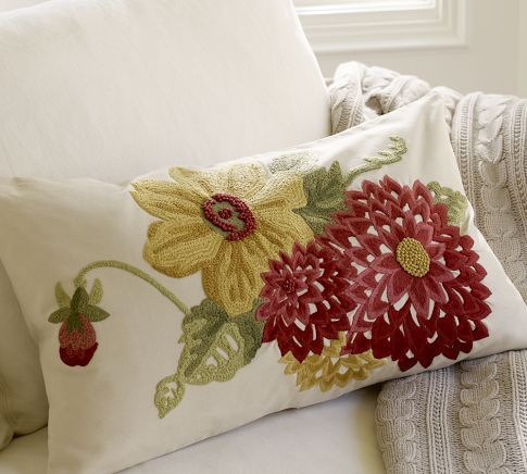 Mum Embroidered Lumbar Pillow Cover Pottery Barn 45 50