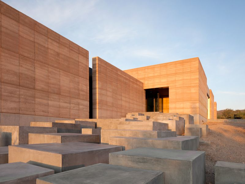 Rammed earth miraval villa adobe pinterest rammed for Adobe home construction