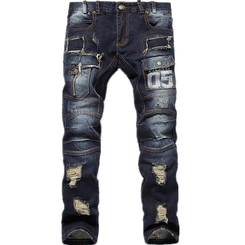 Men's Fashion Ripped Distressed Letter Denim Jeans Sizes 30-38 – Floessence