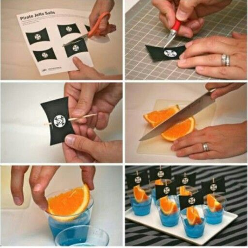 Make some cool pirate-themed party drinks just by creating pirate sails from a pirate flag you can find online, some toothpicks and an orange slice. Afterwards, just dunk them into a cup and bam! You have a mini pirate ship for any pirate themed party you might have for your little ones