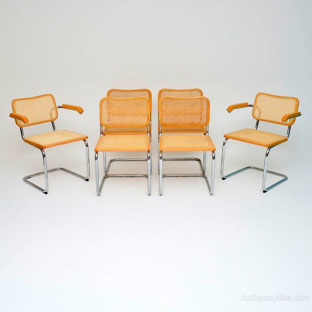6 Vintage Cesca Dining Chairs By Marcel Breuer (With