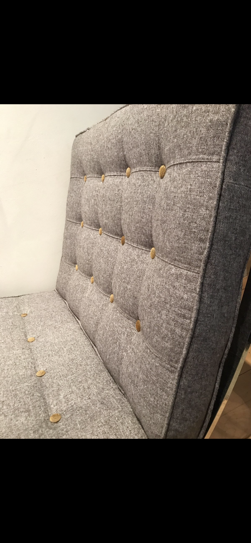 Barcelona Chair Upholstered In Grey Fabric With Contrasting