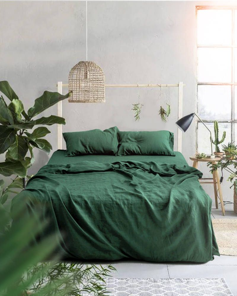 3 Piece Linen Bedding Set Forest Green Linen Duvet Cover 2 Bedroom Green Bed Linens Luxury Green Bedroom Design