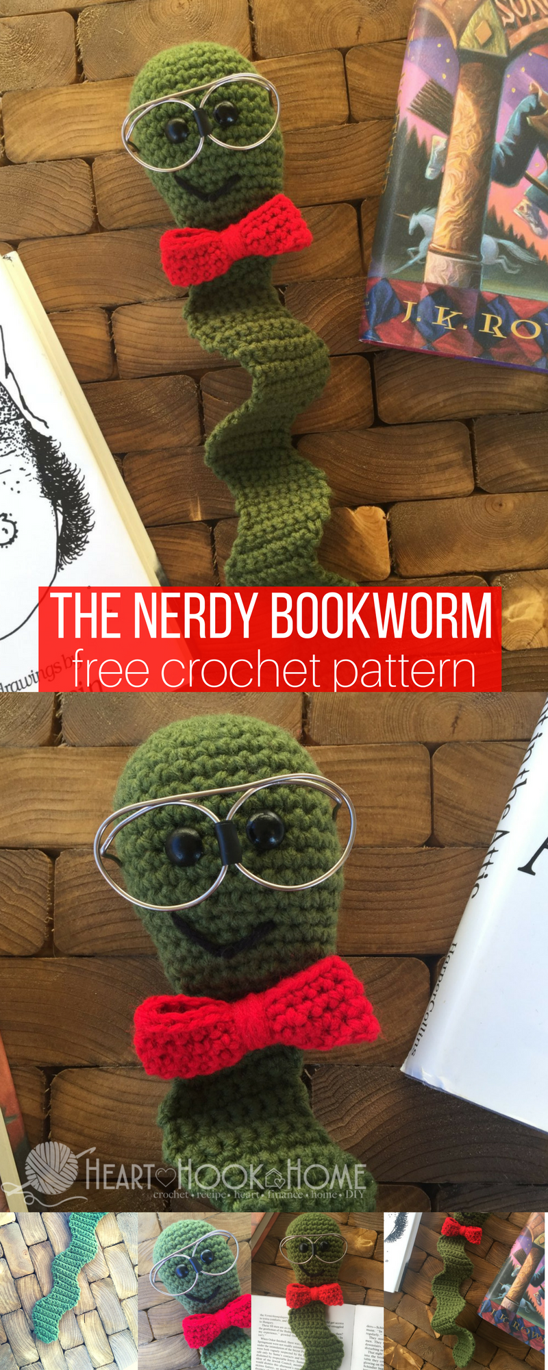 This nerdy bookworm bookmark is simply adorable free crochet the nerdy bookworm bookmark free crochet pattern bankloansurffo Gallery