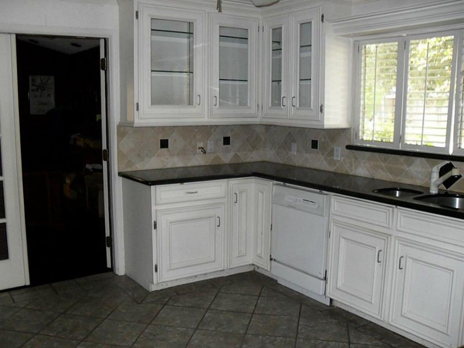 Cabinets kitchen white kitchen reno kitchen remodel tile for White kitchen cabinets with tile floor