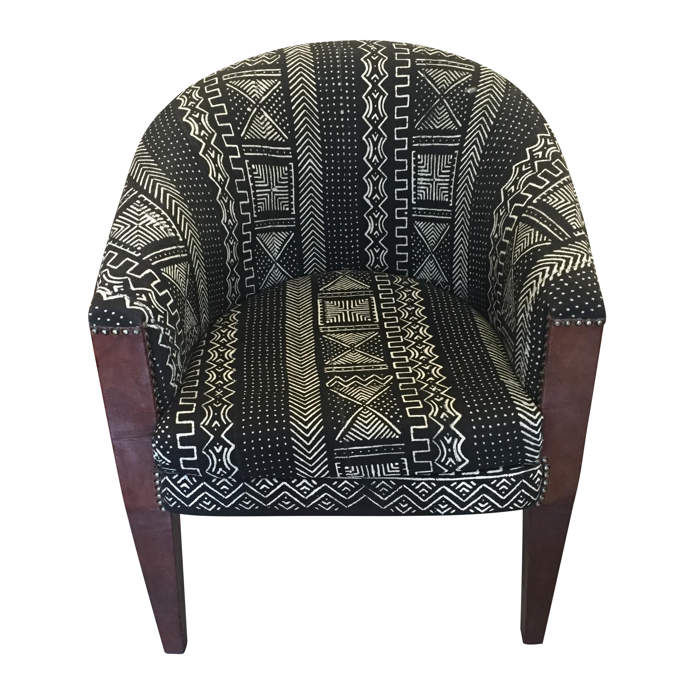Superior $790 Black And White North African Mud Cloth Chair With Leather Wrapped  Wood, Studded Legs