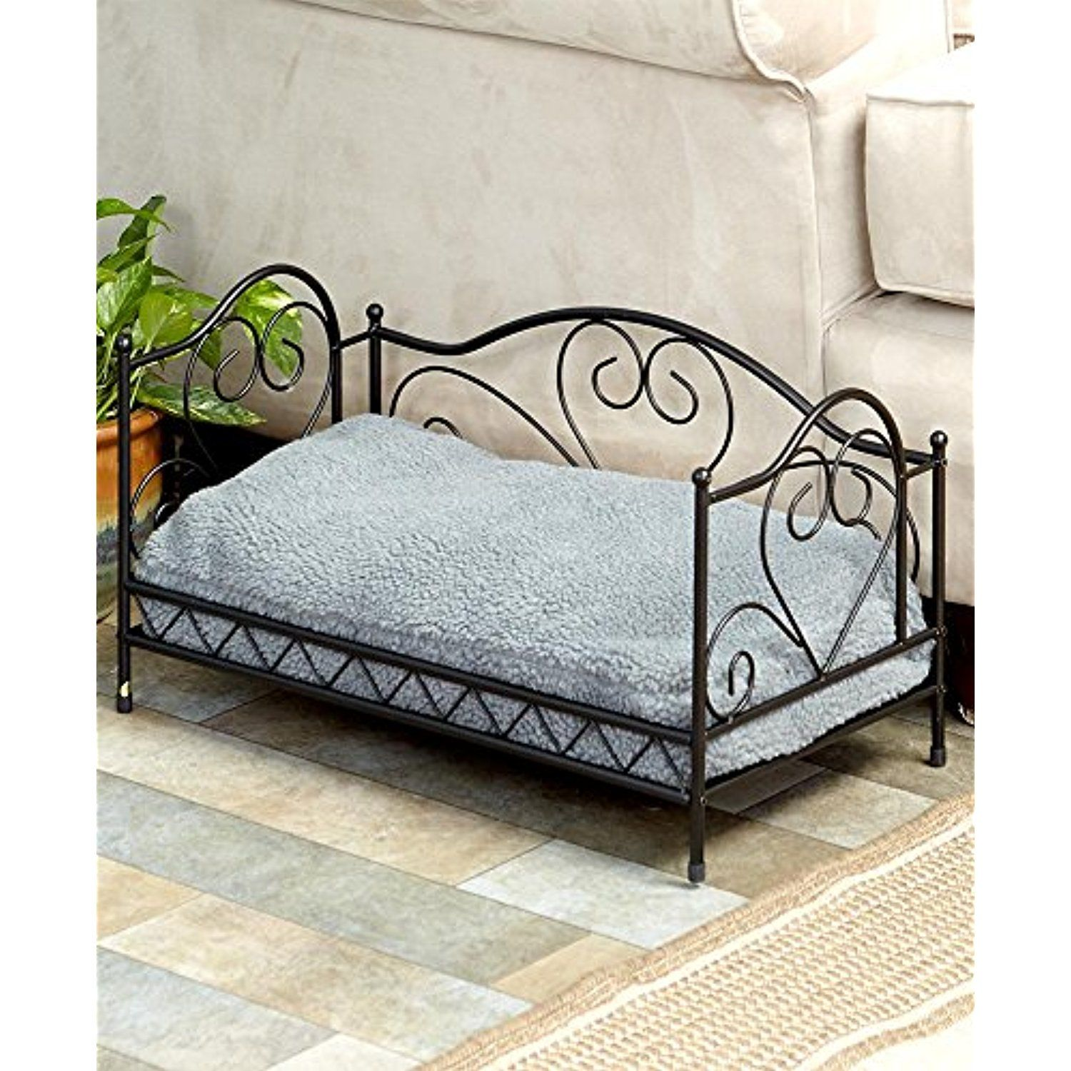 The Lakeside Collection Scrolled Metal Pet Beds Black Learn
