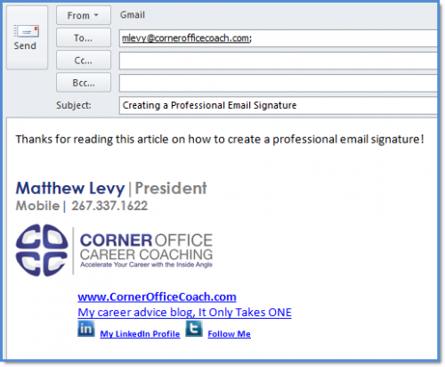 how to create a professional email signature for your career or