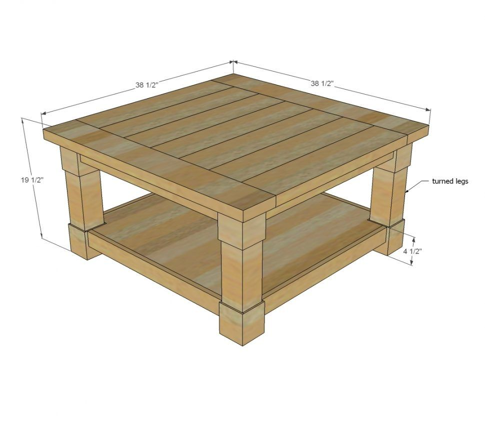Standard size square coffee table therapybychance