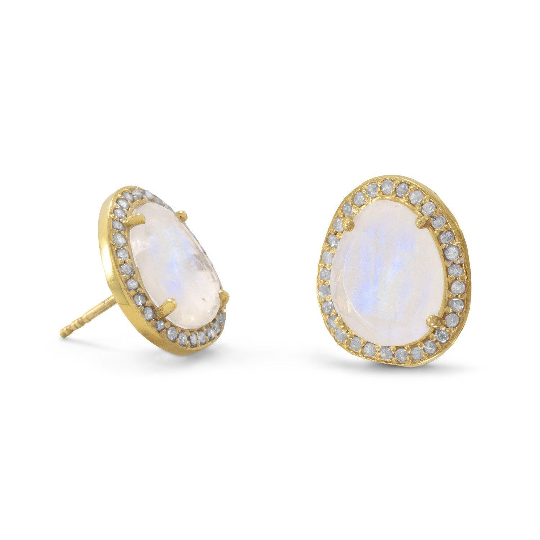 Rhodium plated Sterling Silver Rainbow Moonstone stud Earrings Natural Gemstone Earring xDZR743OG