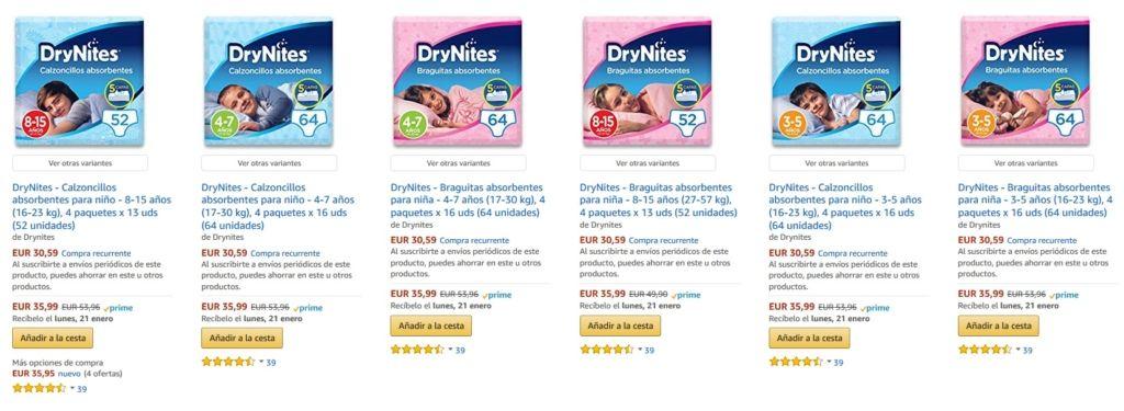 Braguitas absorbentes para ni/ña 64 unidades 3-5 a/ños 16-23 kg DryNites 4 paquetes x 16 uds