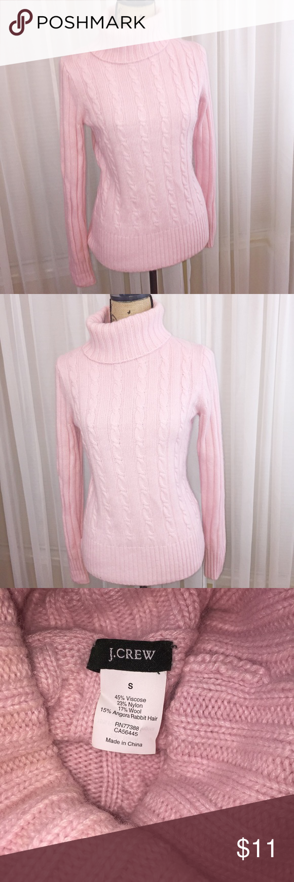 Wintertime perfection J. Crew sweater Baby pink sweater. High neck, warm material. Wool, viscose, and rabbit hair blend. J. Crew Sweaters