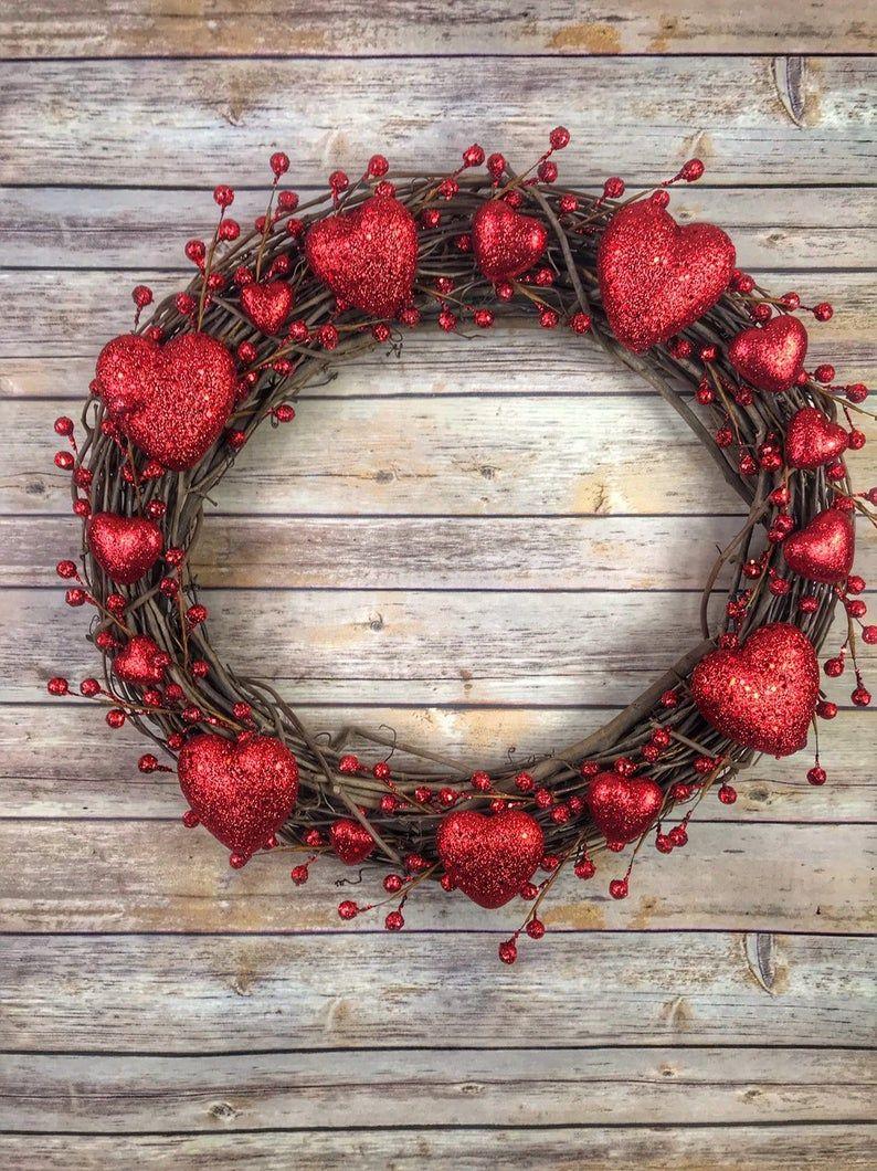 Valentine's Day Wreath~Valentine Heart Wreath~Valentine's Day Decor~Valentine's Day~Valentines Day Gift~Valentine's Day Door Wreath