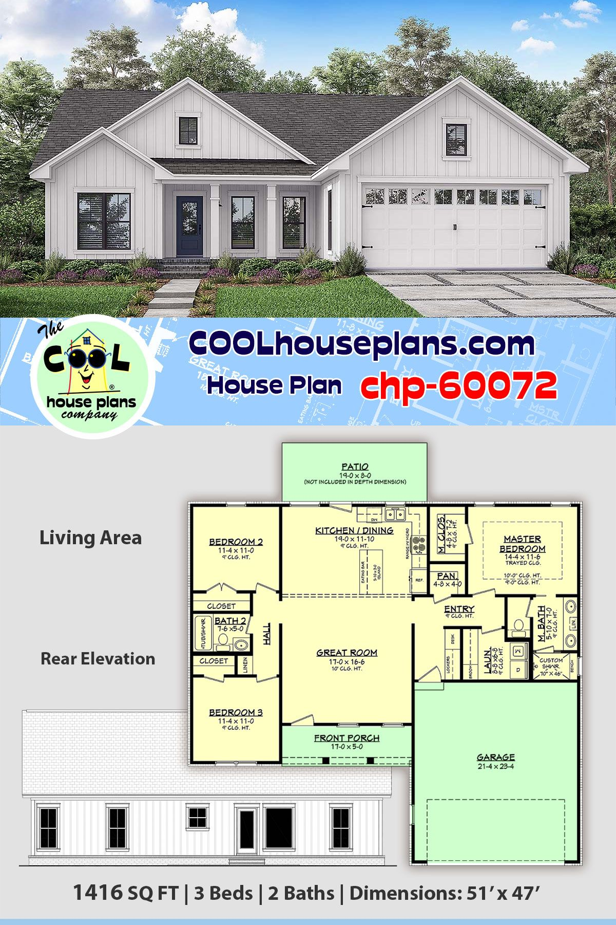 Small Country Home Plan Chp 60072 Is 1416 Sq Ft 3 Bed And 2 Bath With Open Floor Plan House Plans Country House Plans House Plans Farmhouse