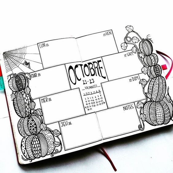 9 Fabulous Halloween Bullet Journal Layouts – Sowelu Studio #halloweenbulletjournal