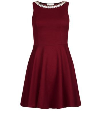 Cameo Rose Dark Red Necklace Trim Skater Dress Newlook £22.99