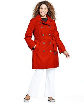 london fog plus size hooded belted trench coat - plus size coats