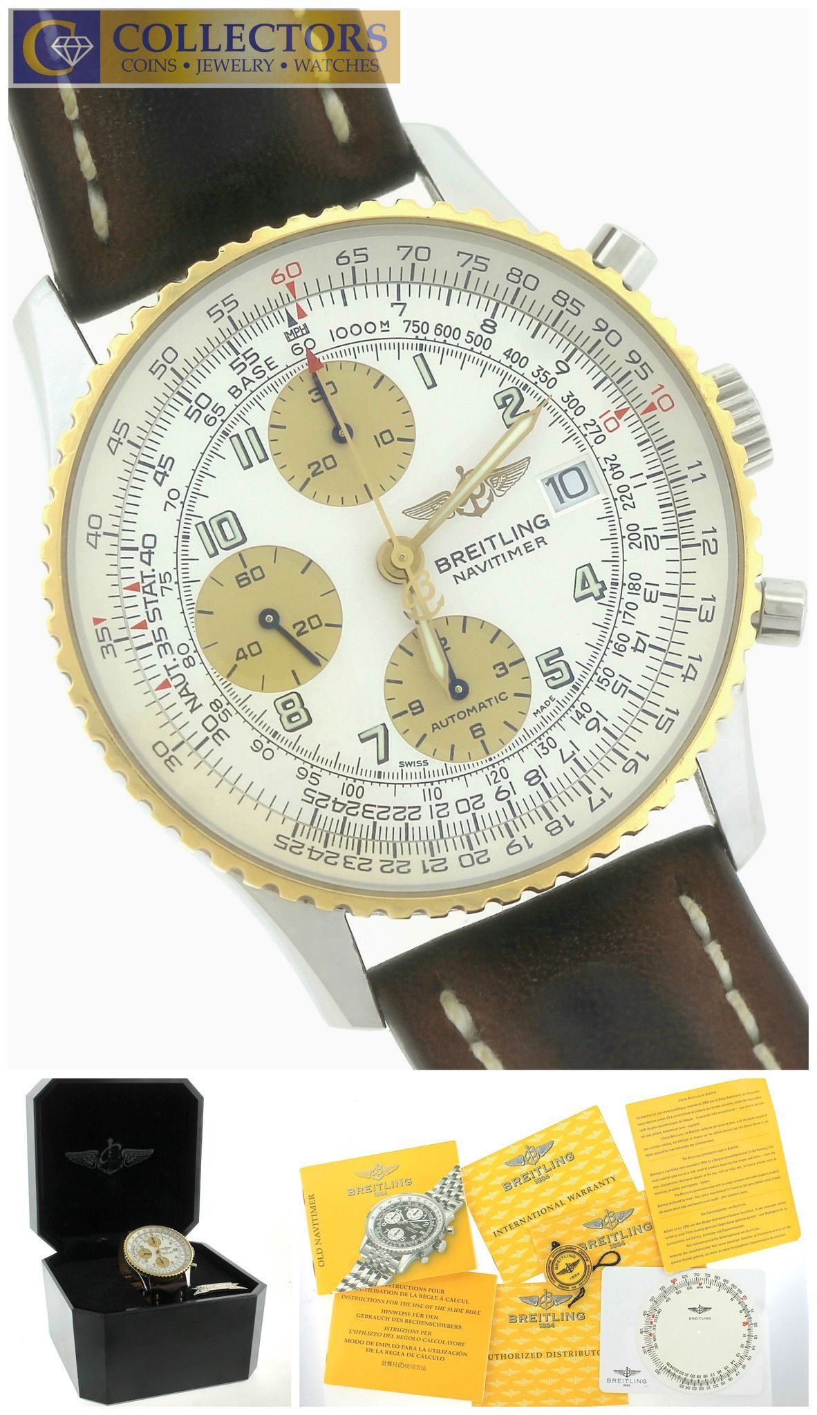 MINT Breitling Navitimer D13322 Two-Tone 18K Gold Stainless Brown 41.8mm Watch