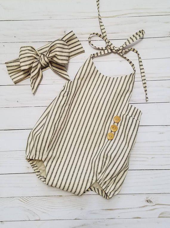 Baby Girls Ticking Stripe Romper- Vintage Inspired Romper-1st birthday Romper-Shabby Chic Romper-sizes Newborn-18/24 months #bohooutfits