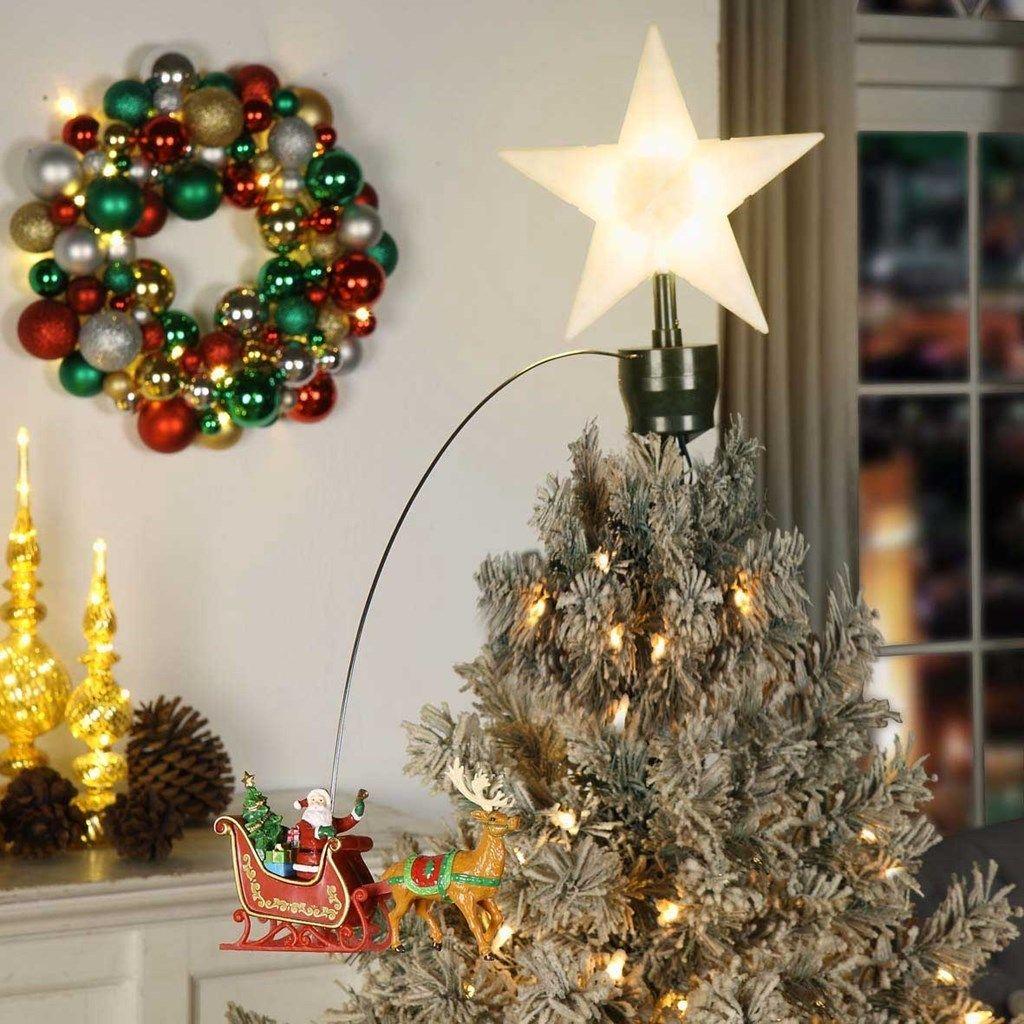 Animated Santa and Sleigh Tree Topper Animated christmas