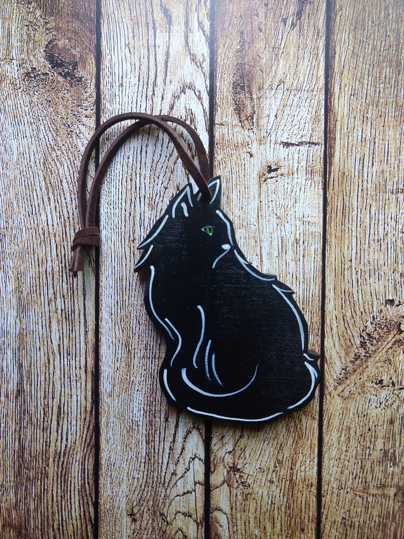 Black Cat Ornament Wood Long Haired Black Cat Ornament
