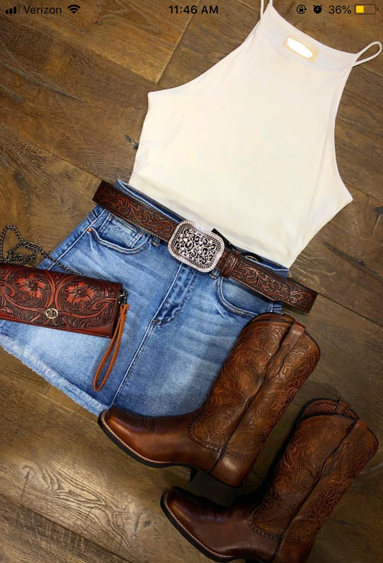 09505563e4 Denim skirt - white blouse and boots   Country in 2019   Outfits ...