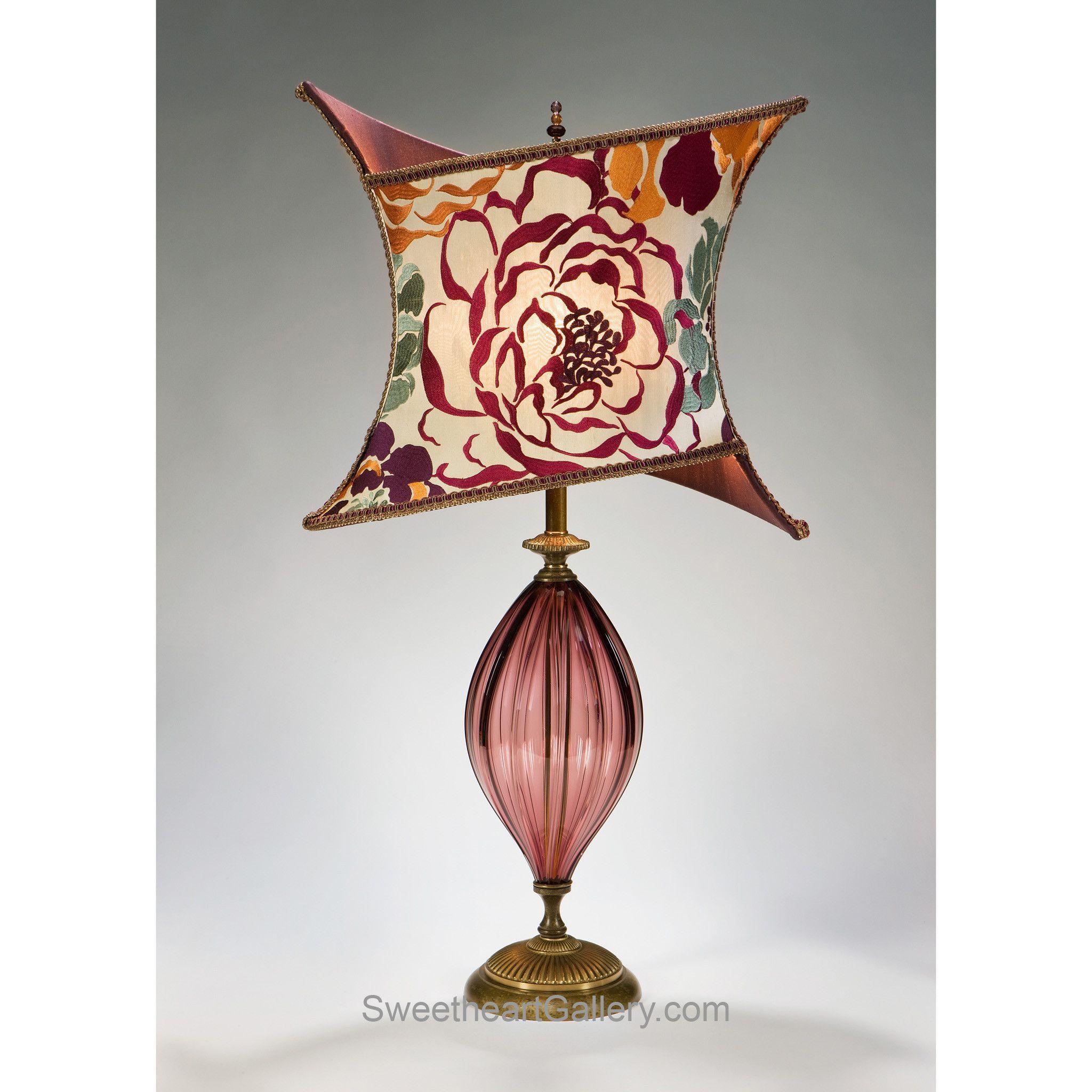 Tori Table Lamp 61y67 by Kinzig Design, Colors Purple, Fuchsia, Salmon, Sea Foam Green, Blown Glass, Artistic Artisan Designer Table Lamps
