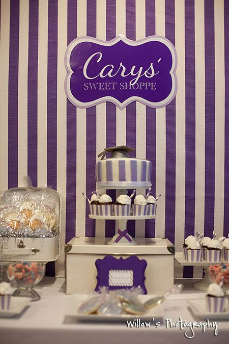 Root Beer Sweet Shoppe Dessert Table Graduation Party Purple