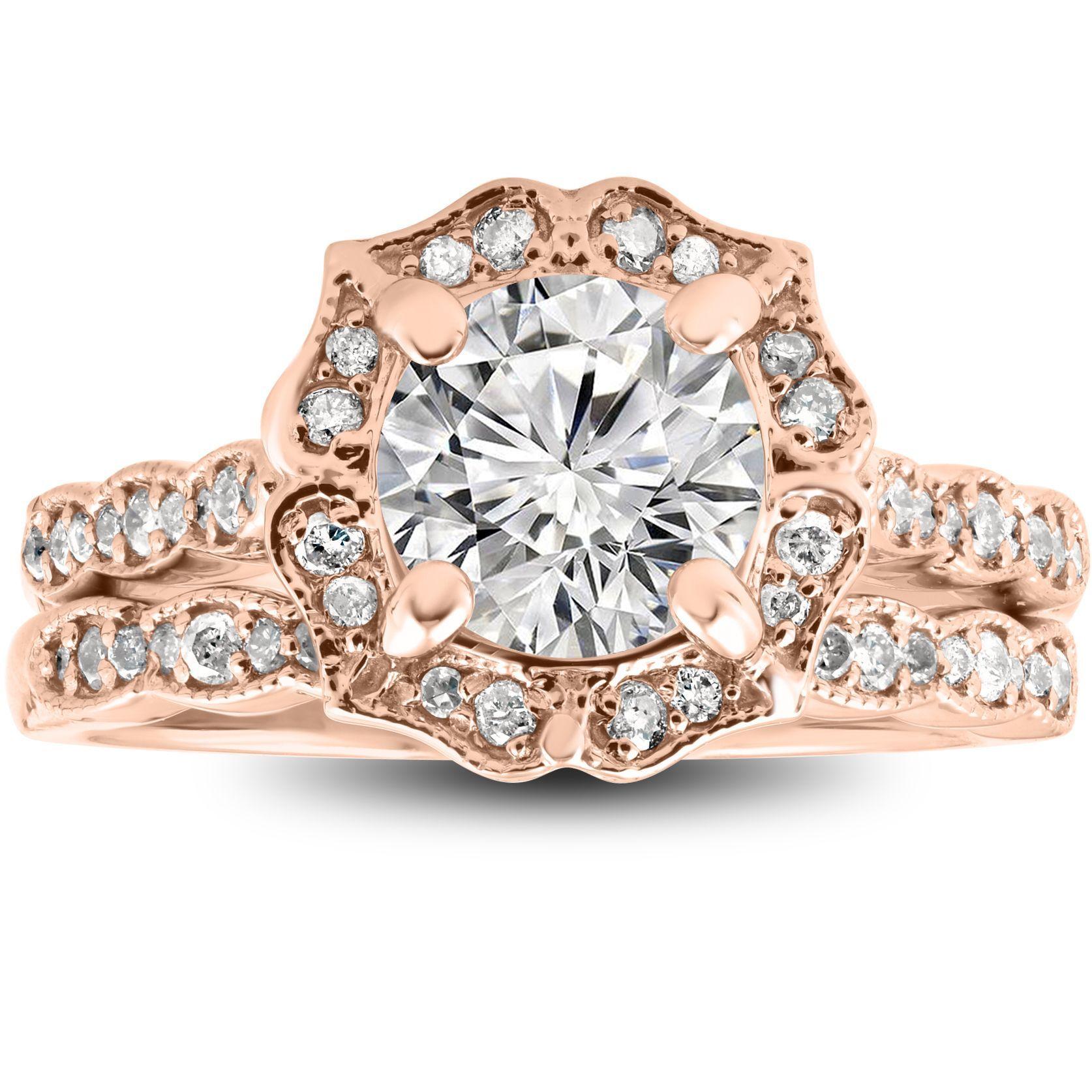 bliss 14k rose gold 2 cttw diamond clarity enhanced halo vintage