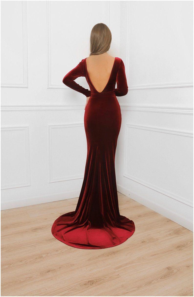 Deep Open Back Burgundy Velvet Bodycon Maxi Dress With Train Etsy Bodycon Maxi Dresses Dresses Velvet Dress Long [ 1213 x 794 Pixel ]
