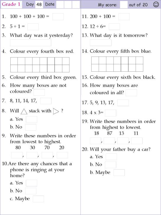 Mental Math Grade 1 Day 50 | Math olympiad, 2nd grade math ...