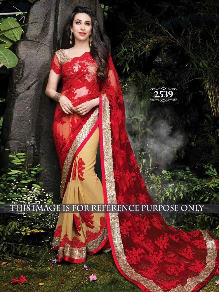 buy saree online Karisma Kapoor Red and Chiku Georgette and Net Bollywood…