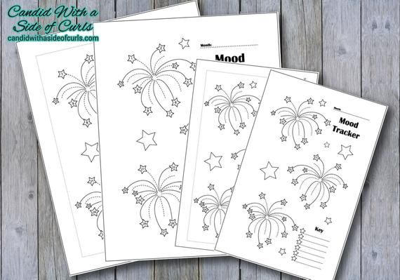 Fireworks Monthly Mood Tracker Bullet Journal-Printable Pages