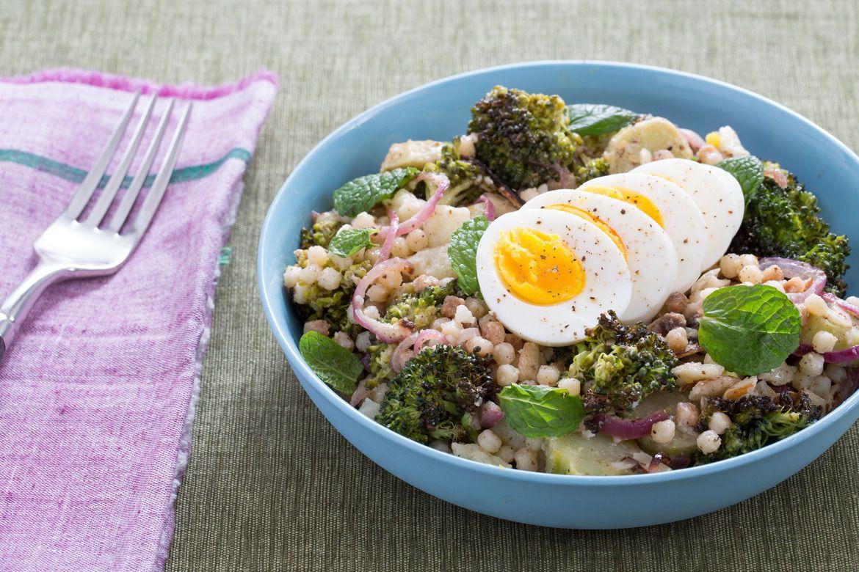 Blue apron broccoli - Recipe Roasted Broccoli Fregola Sarda Salad With Soft Boiled Eggs Tahini Dressing Blue Apron