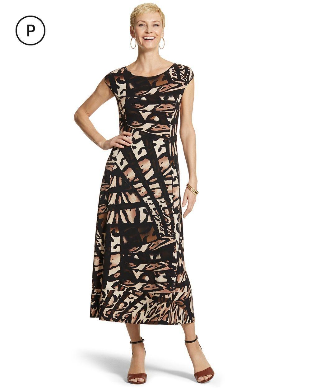 45b533aa79 Chico s Women s Petite Adrian Animal-Print Maxi Dress