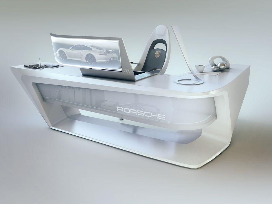wonderful futuristic office desk   Modern desk design by Encho Enchev   Sci-Fi   3D ...