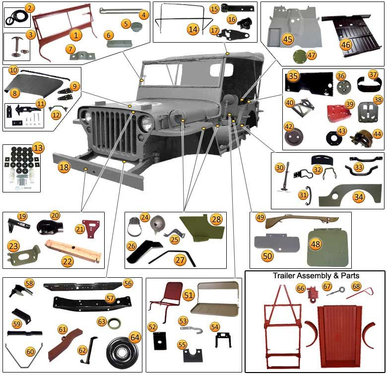 1941 1945 jeep willys mb gpw body parts accessories. Black Bedroom Furniture Sets. Home Design Ideas