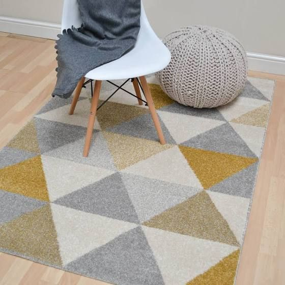 Focus Triangles Rugs In Ochre Buy Online From The Rug Seller Uk Part 68