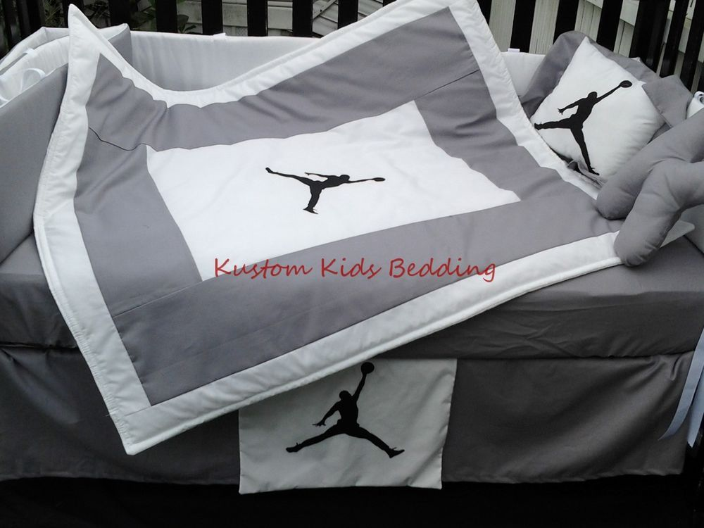 1ef0f5fa833 Custom new MICHAEL JORDAN Crib Bedding Set 7 pieces in Grey and White   KustomKidsBedding