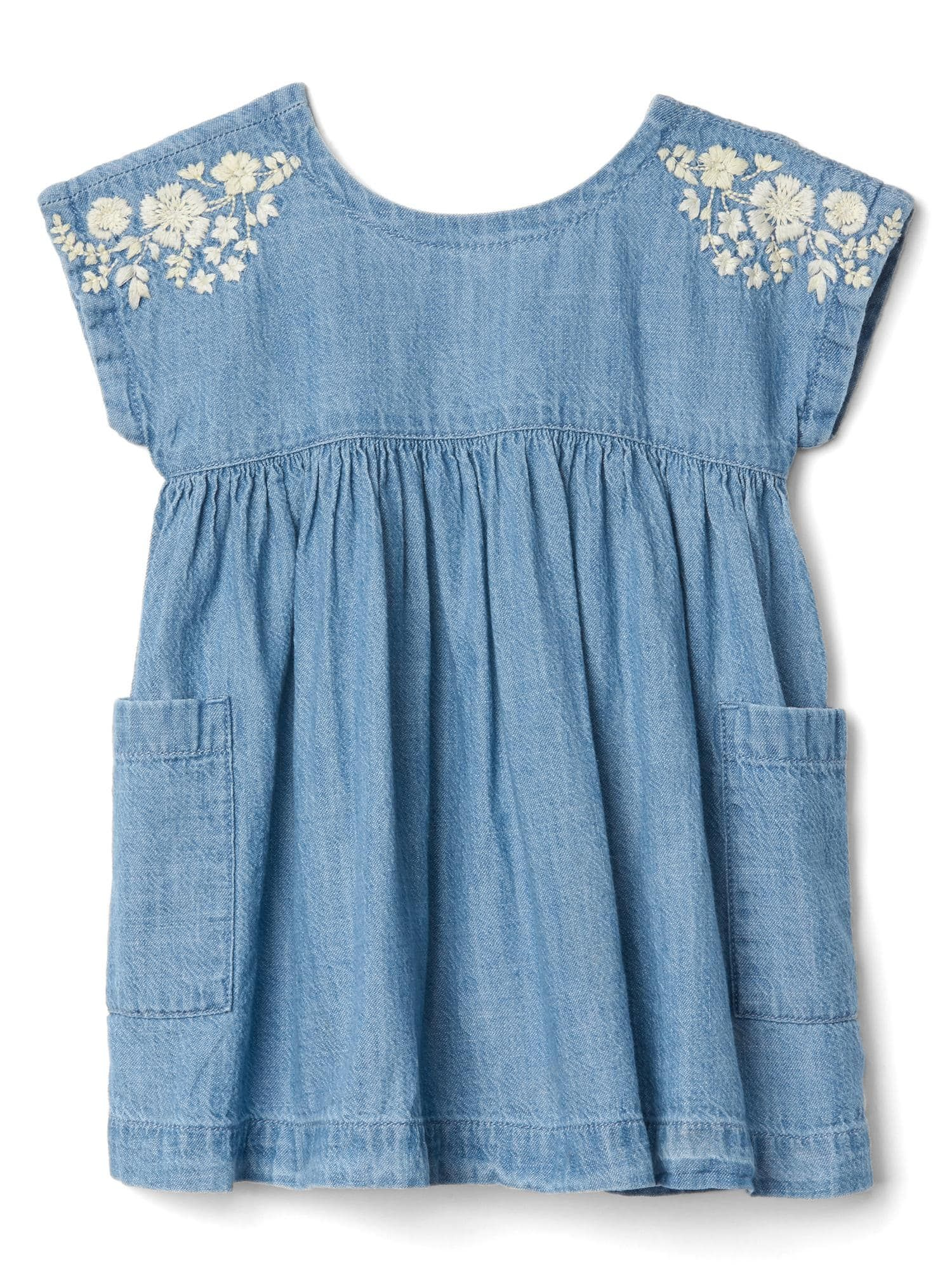 Floral Embroidery Chambray Baby Dress Gap