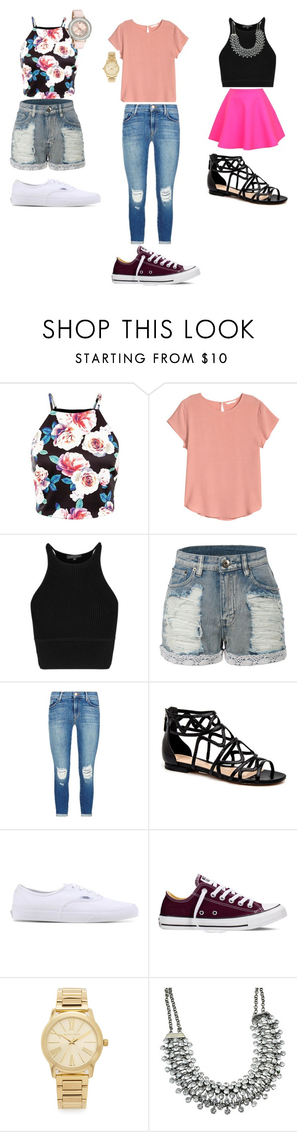 """teen girls night out"" by trillest03 ❤ liked on Polyvore featuring H&M, UNIF, LE3NO, J Brand, Vans, Converse, Michael Kors and Ted Baker"