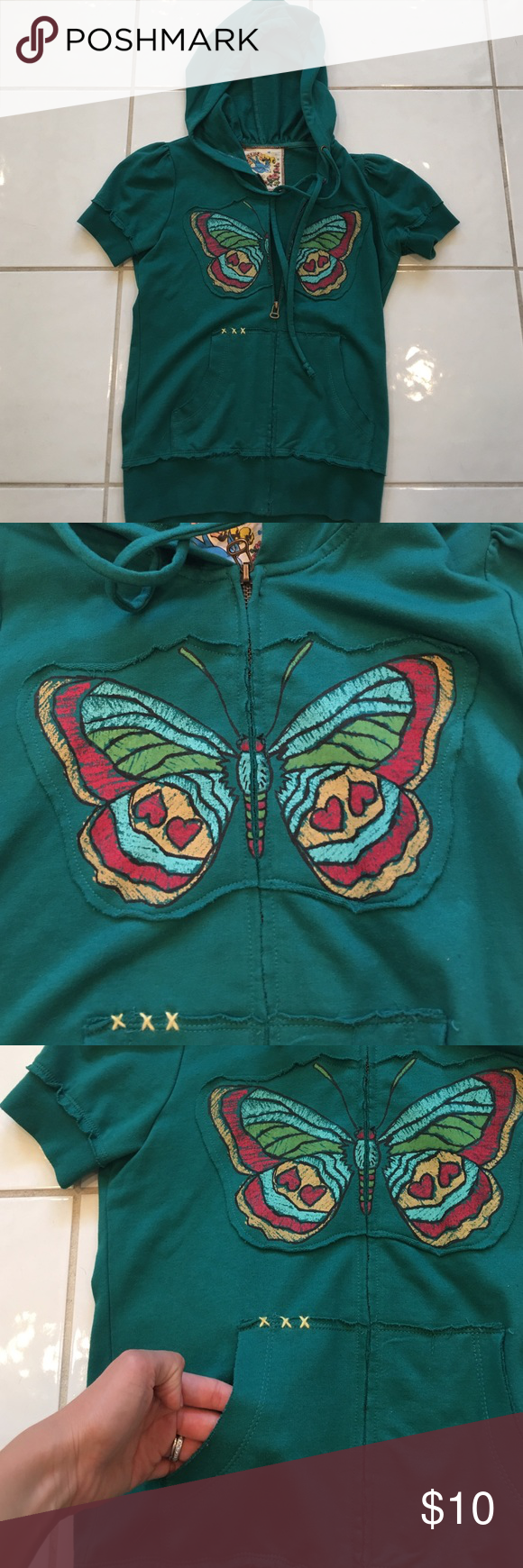 Green butterfly jacket Short sleeve with hoodie. Butterfly