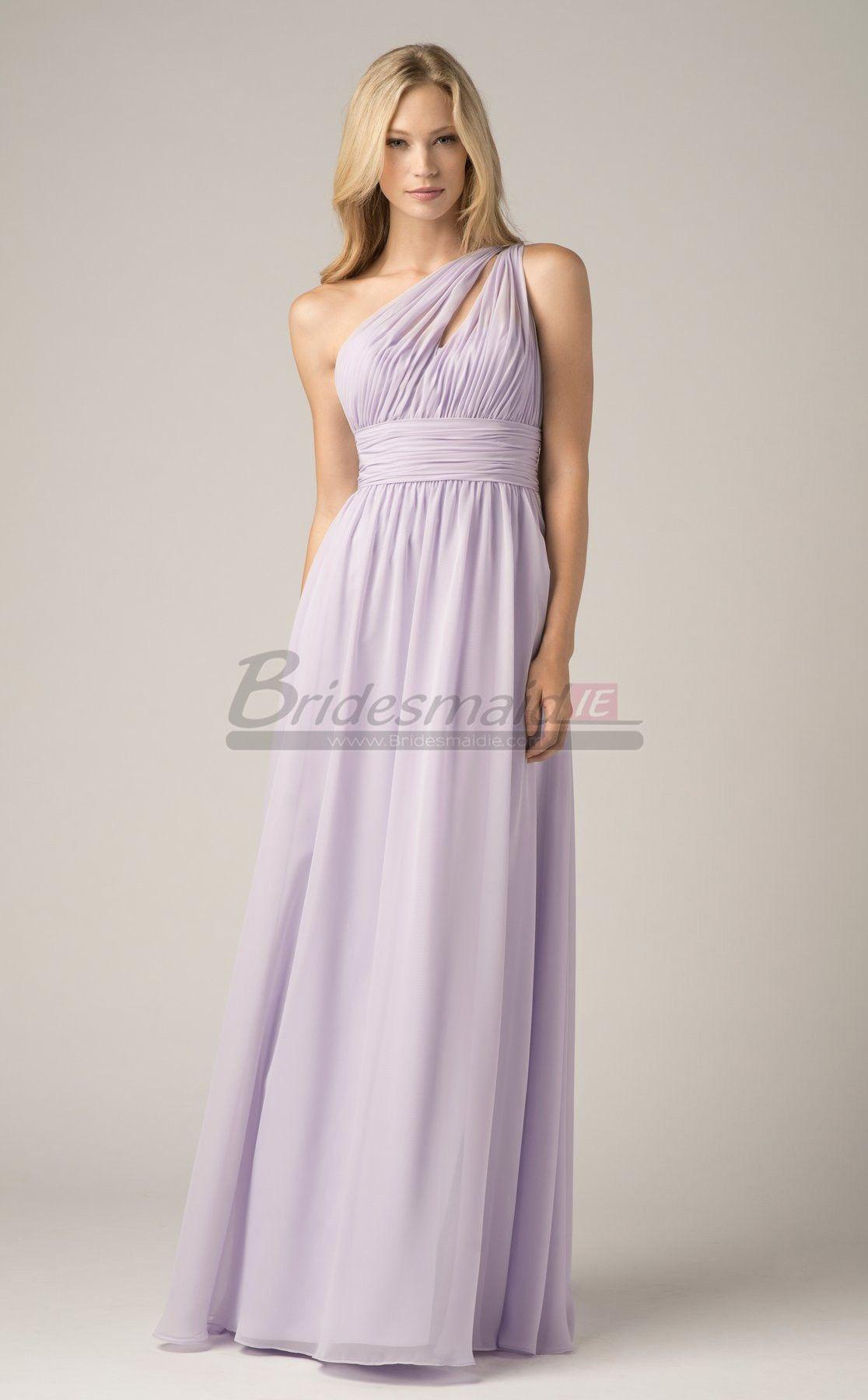 Lilac long lace empire waist one shoulder bridesmaid dress bdie