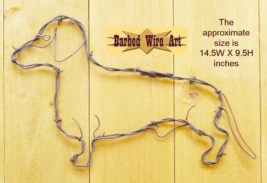 Dachshund - Handmade metal decor barbed wire art country western dog ...